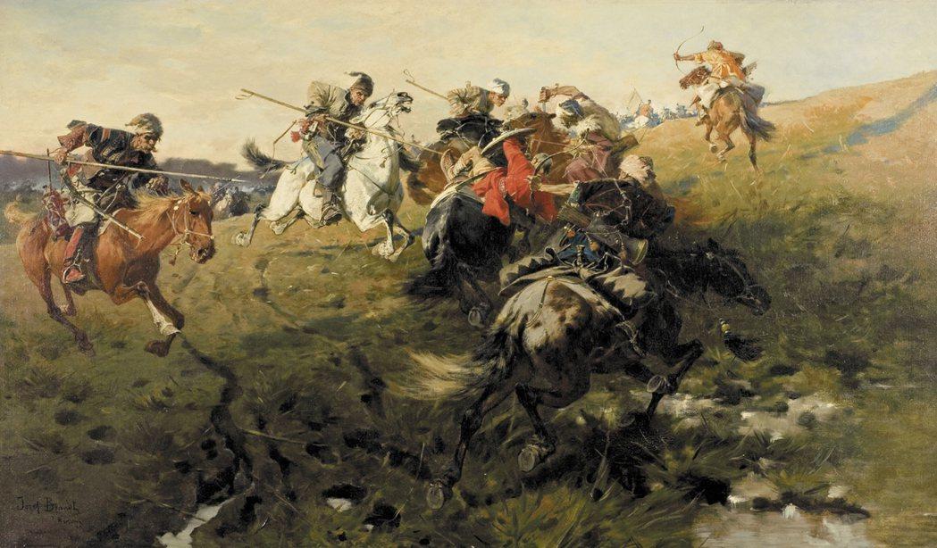 與哥薩克人交手的克里米亞韃靼騎兵(持弓箭者)。 圖/維基共享