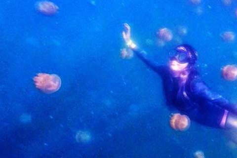 王陽明與蔡詩芸剛從帛琉度假回來,在臉書上分享不少美照,其中有張蔡詩芸在水母湖潛水的照片,有讀者向《蘋果日報》投書,指出水母湖是嚴禁潛水時穿蛙鞋。據《蘋果日報》報導,讀者投書指出水母湖是禁止穿蛙鞋潛水...