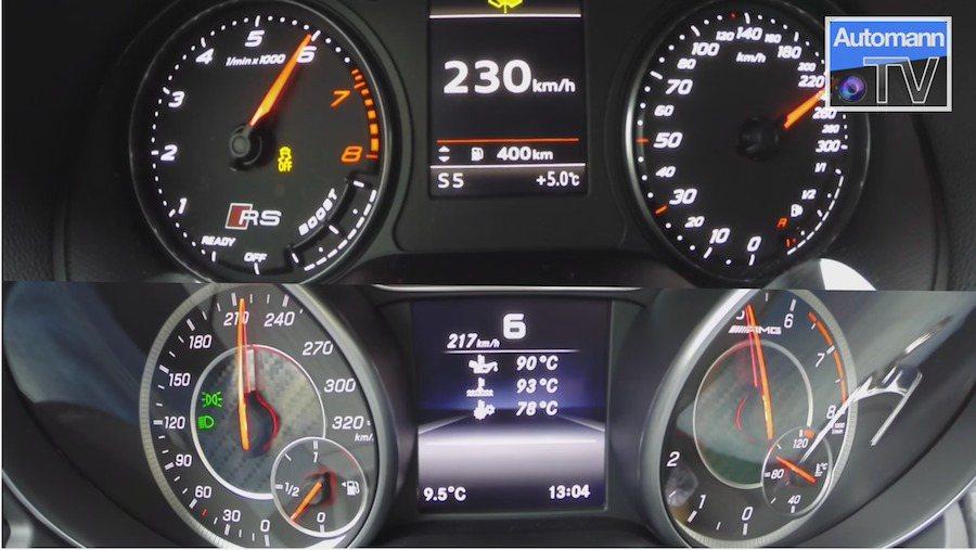 兩車的加速表現不分軒輊,都能一舉突破200km/h大關。 截自Autobahn-TV影片