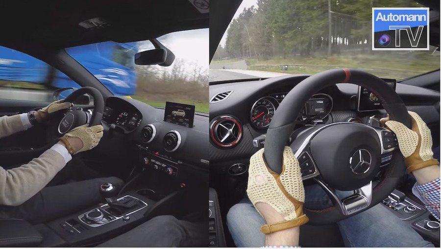 Mercedes-AMG A45與Audi RS3展開一場速度與聲浪的PK賽。 截自Autobahn-TV影片