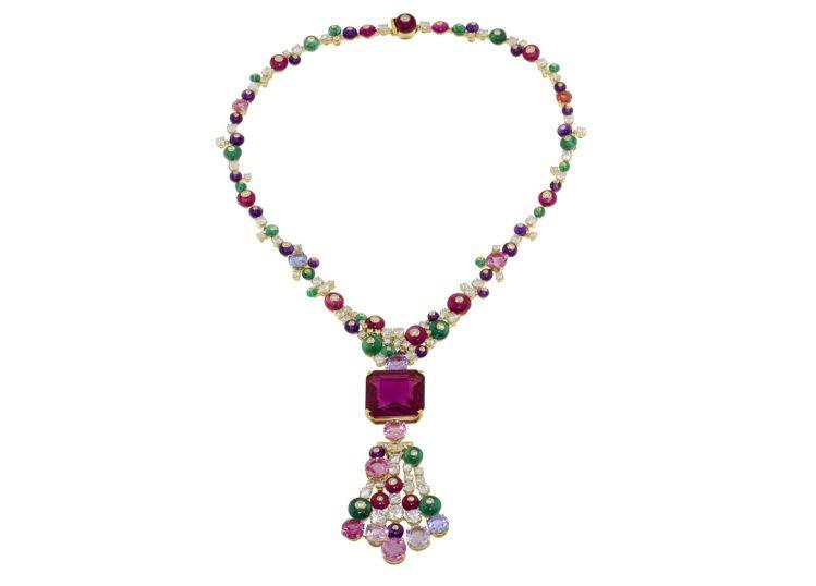 寶格麗頂級珠寶紅寶石項鍊(德國公主莉莉配戴款),主石八角形紅碧璽約27.41克拉...