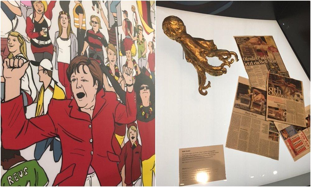 德國國家足球博物館的球迷壁畫(中間當然是梅克爾),右邊則是世界盃的預言傳奇「章魚...