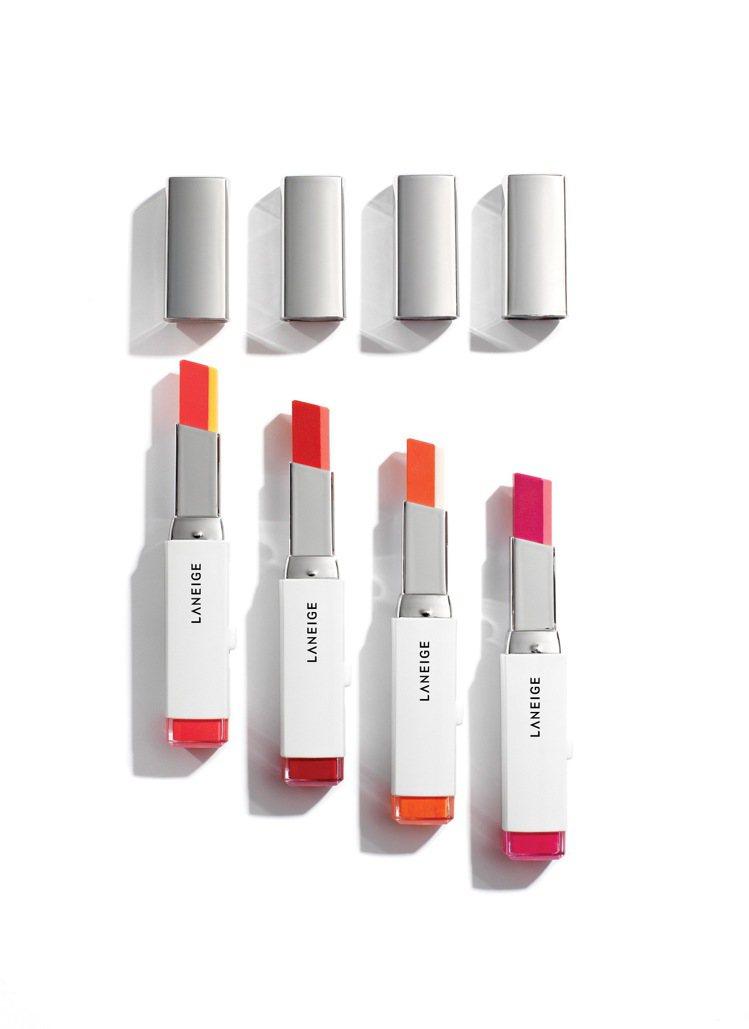 LANEIGE蘭芝超放電絲絨雙色唇膏一支就擁有柔霧、水亮兩色。圖/蘭芝提供