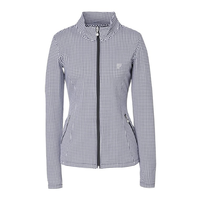 FILA「輕印花」經典黑白細格針織外套,2,980元。圖/FILA提供