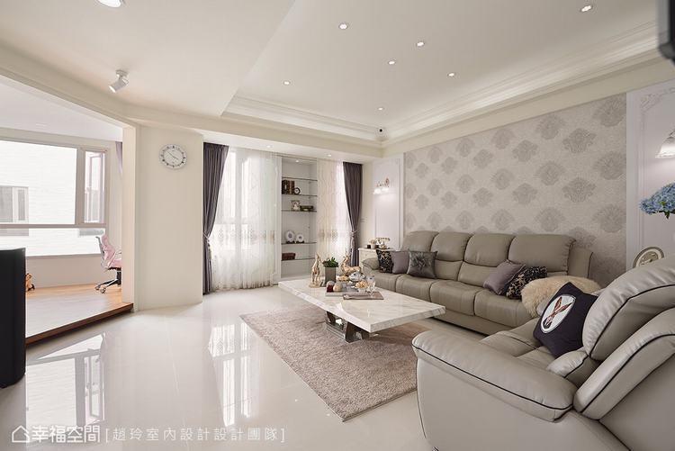 ▲樓公領域: 窗景的營造讓大面採光得以映照一室,烘托一室浪漫的古典細節。
