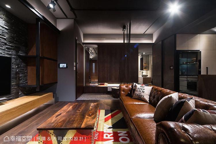 ▲鞋櫃: 木皮與白漆高低錯落矮櫃,搭配大型懸吊式櫃體與鏡面,兼具收納實用性與視覺...