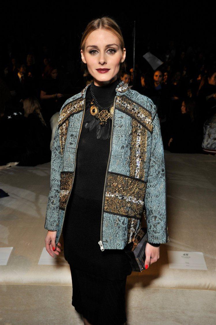 美國名媛Oliva Palermo出席H&M Studio服裝秀。圖/H...