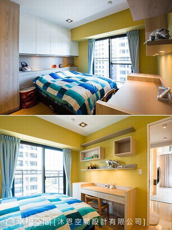 ▲男孩房: 芥末黃的男孩房帶來空間活力,並配置完善展示收納機能符合成長所需。