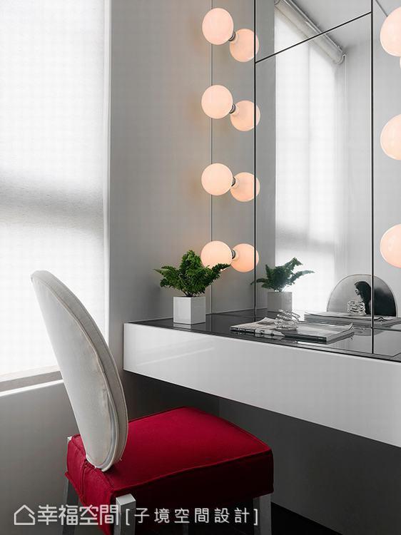 ▲更衣室: 為滿足女主人的需求,以每位女孩都嚮往的設計,打造出明星級專用的化妝台...