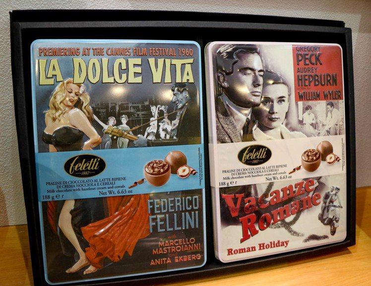 義大利Feletti巧克力,鐵盒外包裝充滿義大利風情。記者史榮恩/攝影