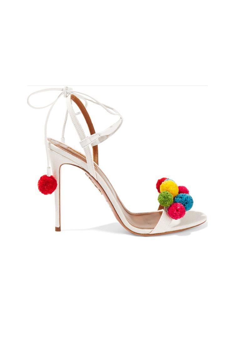 AQUAZZURA絨球綴飾酒椰葉纖維涼鞋 這款造型醒目的涼鞋採用白色酒椰葉纖維...