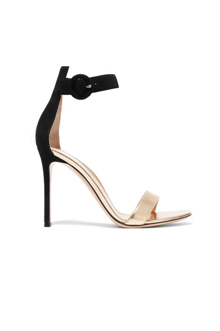 GIANVITO ROSSI絨面金屬感皮革涼鞋 採用質地柔軟的黑色絨面和金色皮...