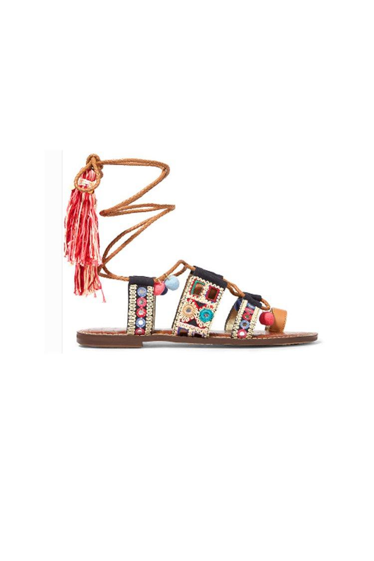 SAM EDELMANGretchen 刺繡帆布皮革涼鞋 以著名電影《阿甘正傳...