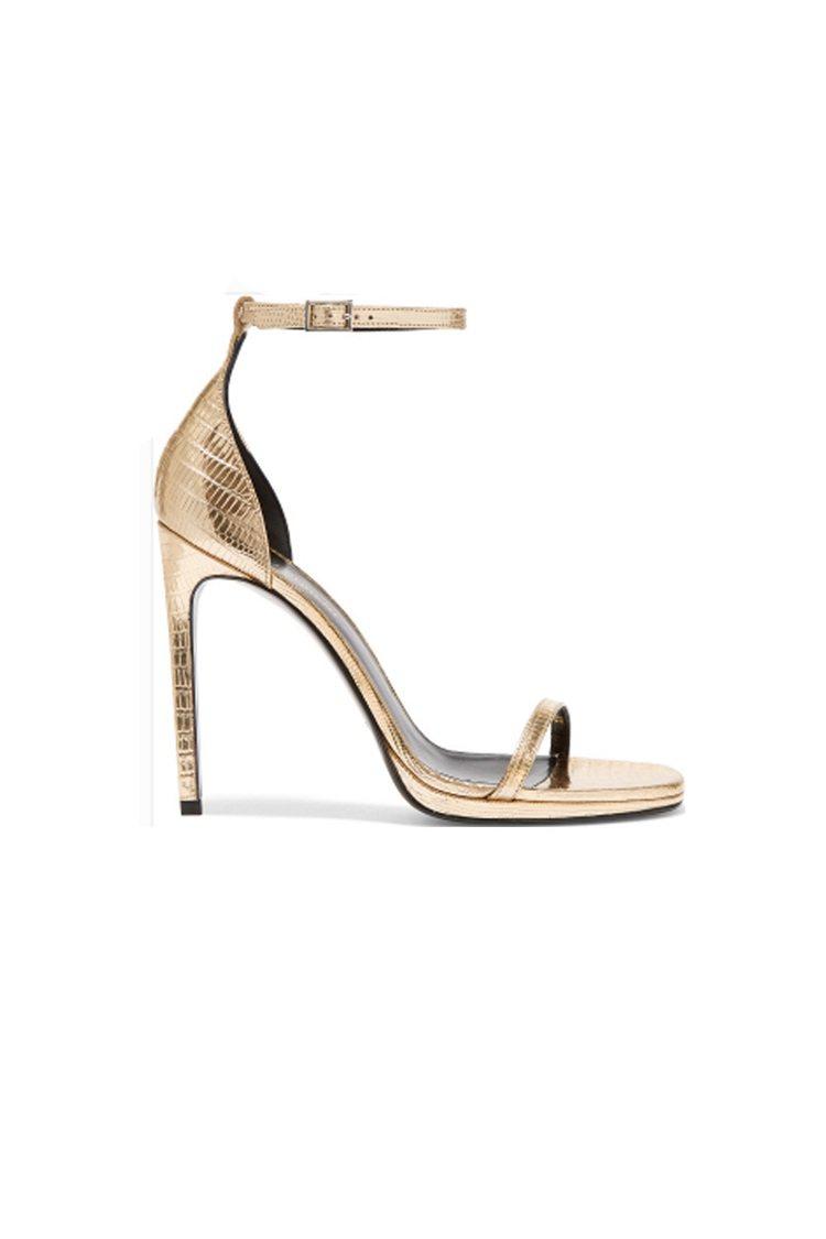 SAINT LAURENJane 金屬感仿蜥蜴紋皮革涼鞋以光亮的玫瑰金色仿蜥...