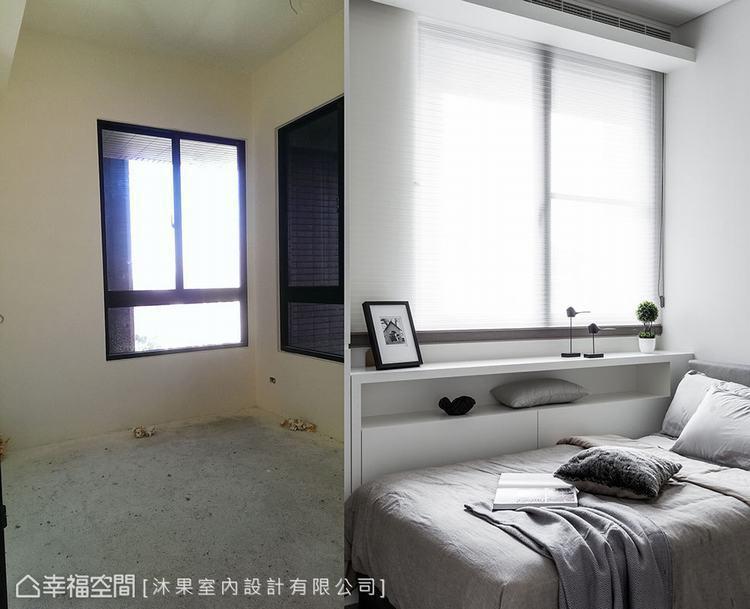 ▲客房: 沿著窗台邊規劃收納櫃增加實用機能外,也讓人在睡眠時遠離冰冷觸感的牆體。