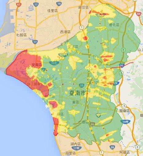 台南市土壤液化潛勢區。 中央社