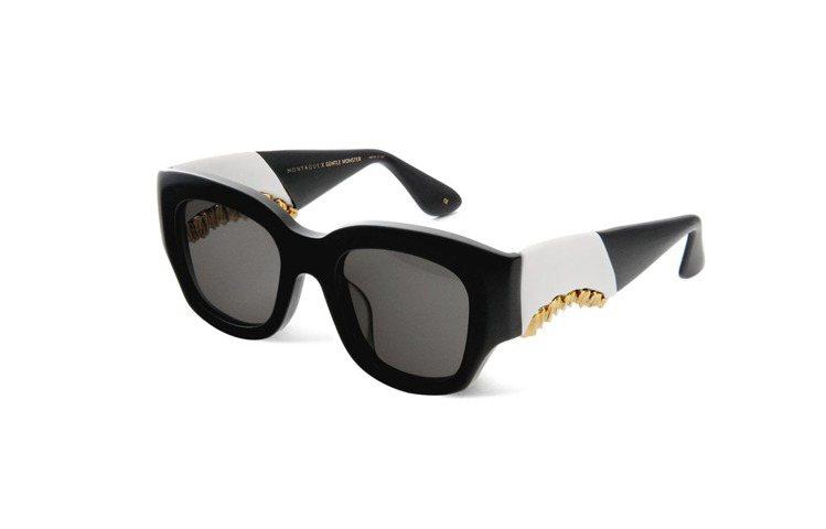 特別限定款型號 HEIRESS GOLD 墨鏡,以黑白色塊拼接金色齒模。圖/GE...