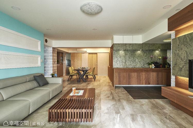 ▲全室運用木皮局部貼附、木質家具選搭,融入晚輩喜愛的北歐簡約感。