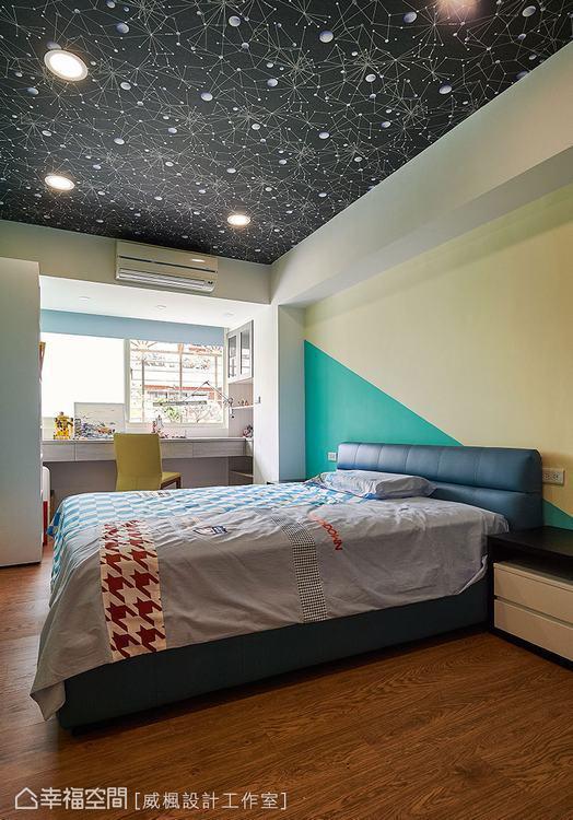 ▲星空壁紙與壁面漆色,展現男孩活潑的水瓶座個性
