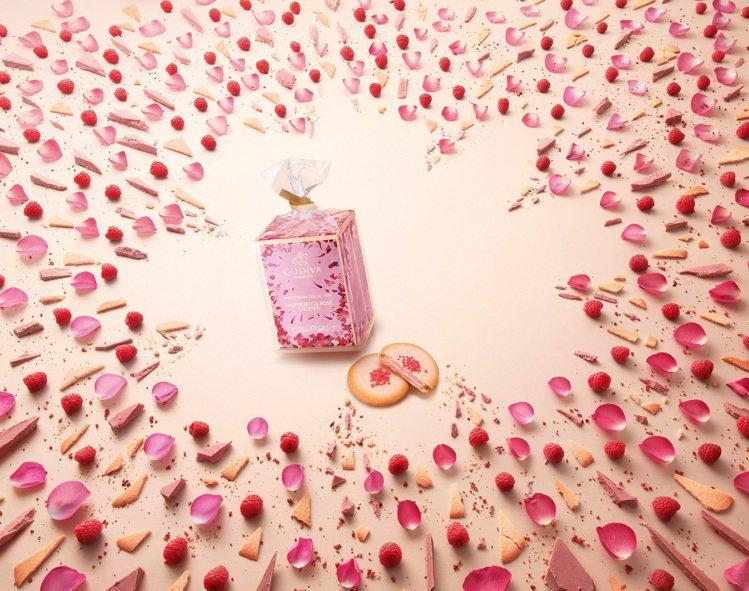 GODIVA限量精選紅莓玫瑰白巧克力夾心餅乾5片裝,250元。圖/GODIVA提...