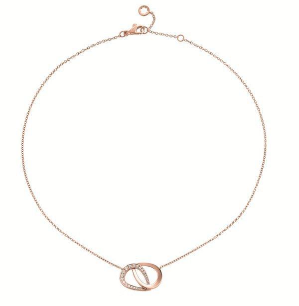 萬寶龍摩納哥葛莉絲王妃系列高級珠寶編織花瓣雙瓣玫瑰金鑲鑽項鍊,密鑲嵌頂級美鑽(0...