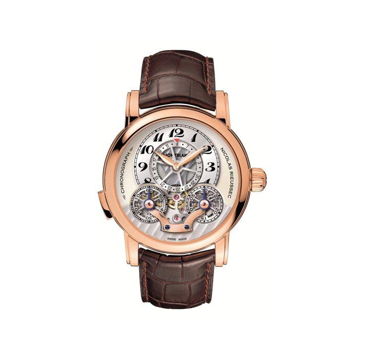 萬寶龍Nicolas Rieussec鏤空日曆計時腕表,18K玫瑰金表殼,43 ...