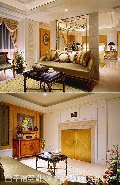 ▲飯店式設計:主臥以鐵件造型結合仿石紋漆面的端景牆,創造出小客廳空間,同樣運用畫...