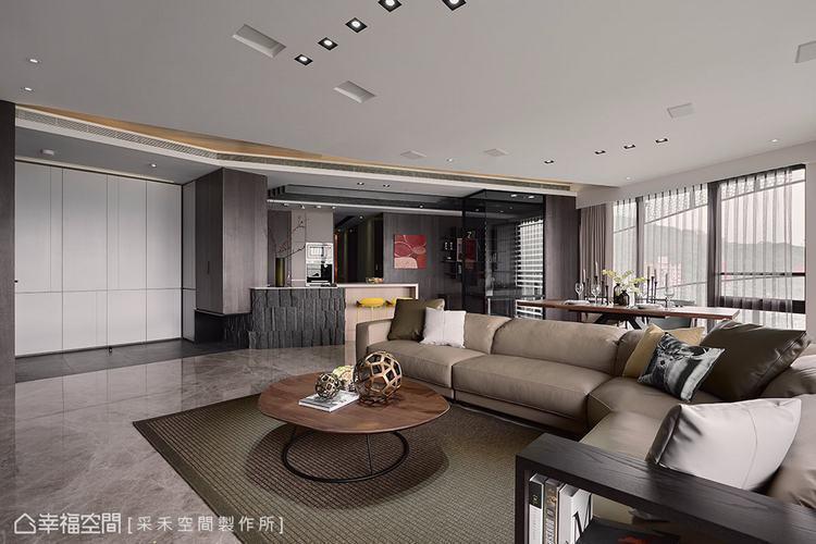 ▲客廳:透過尺度和比例的拿捏得宜,展現特有的空間美學,在整體配色,也以黑白灰及中...