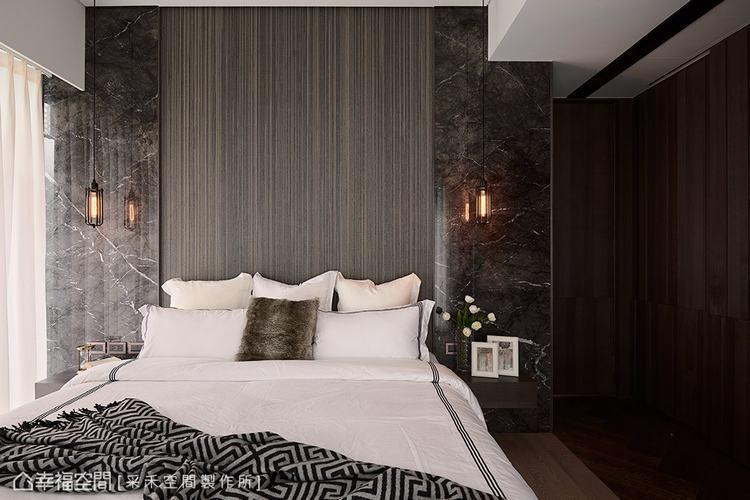 ▲恢弘氣韻:床頭主牆使用大理石來增添恢弘氣韻,並搭配線條優美的編織地毯,營造精品...