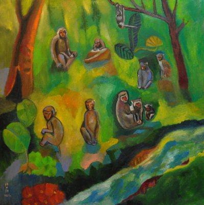 因為今年是猴年,就參考高雄壽山的臺灣獼猴畫了一張猴子群像(見圖)給大家拜年,沒想...