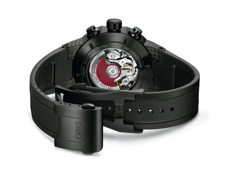 Oris Williams底蓋可透視674機芯和著名紅色自動盤。圖/Oris提供