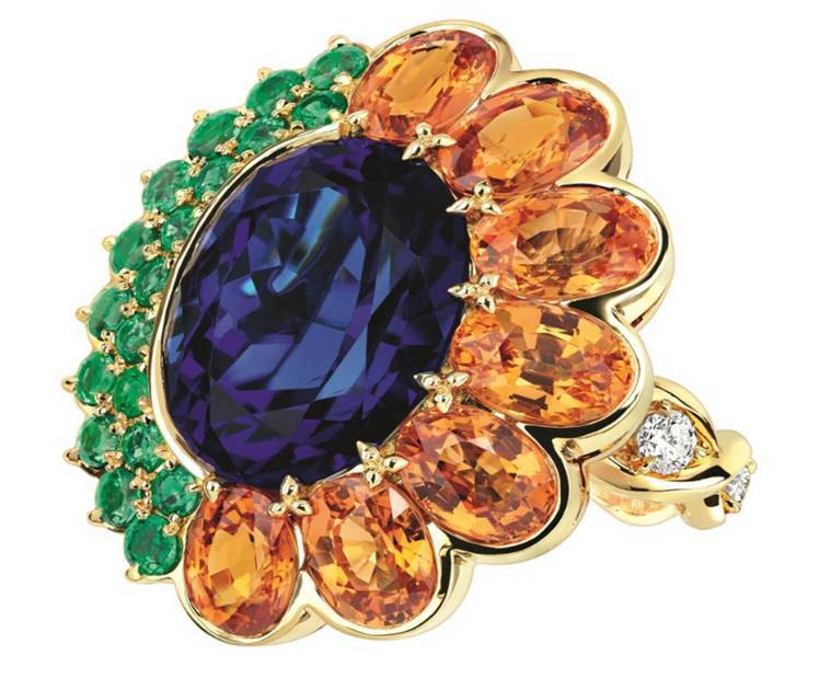 DiorGRANVILLE坦桑石戒指 ,約400萬元。圖/Dior提供