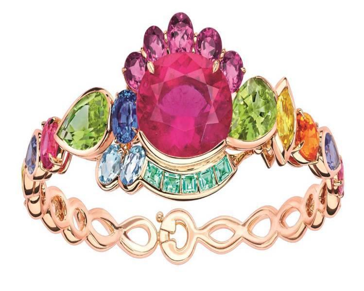 Dior GRANVILLE 玫瑰色碧璽手鐲,約 590萬元。圖/Dior提供