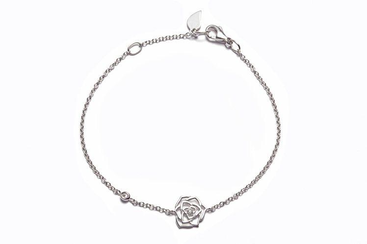 Piaget Rose 蕾絲玫瑰手鍊,18K白金鑲嵌2顆美鑽(約0.05克拉),...