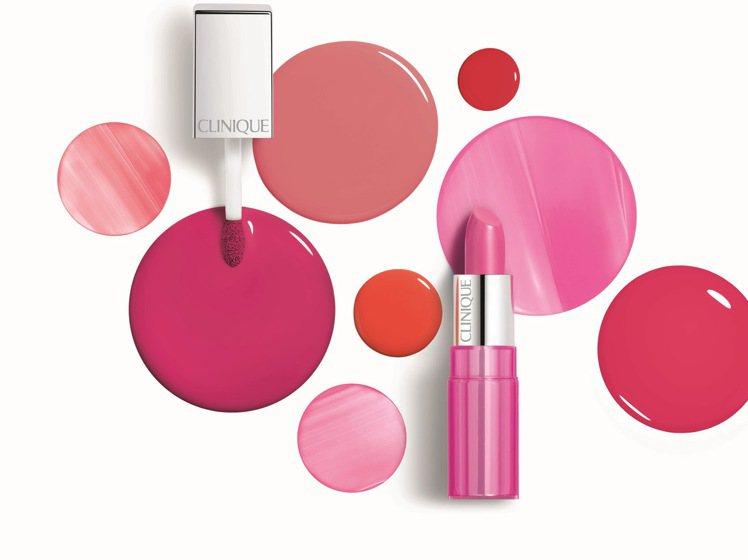 倩碧紐約普普水晶唇膏、紐約普普戀色唇釉的粉嫩色調,可打造雲朵系玫瑰石英粉妝容。圖...