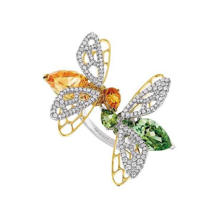 Chaumet「你和我」蜜蜂戒指,黃K金、白金,鑲嵌橙色錳鋁榴石、綠色橄欖石、石...