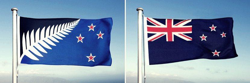 左邊為第一輪公投勝出的新旗幟:銀蕨+黑藍底+紅色南十字星;右邊為紐西蘭現在的國旗...