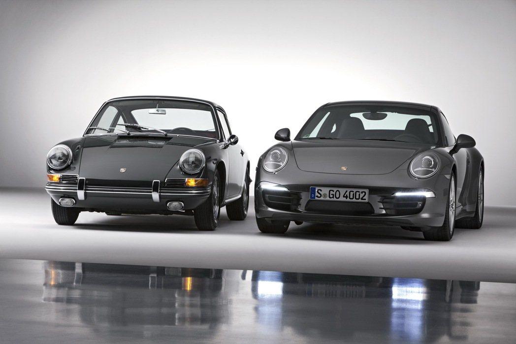 911 Carrera 4S(左)及1964年版本的911 2.0 Coupé。...