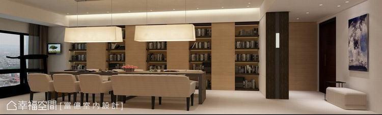 ▲以米色為空間基調,再以褐色跳出鮮明的立面層次,圍塑出瀏覽室意象。