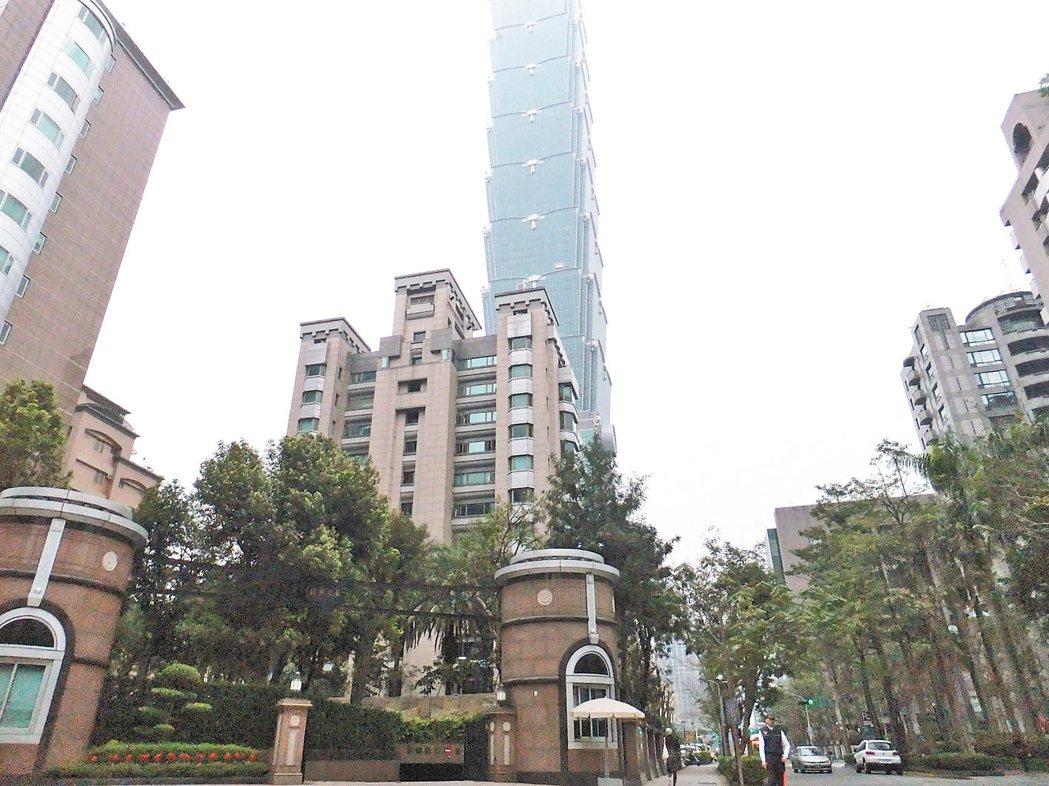 信義區房價仍維持一定高水準。 記者游智文/攝影
