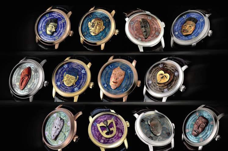 江詩丹頓「藝術大師」面具系列微雕腕表全套十二枚首次同時現身拍賣場。圖/香港蘇富比...