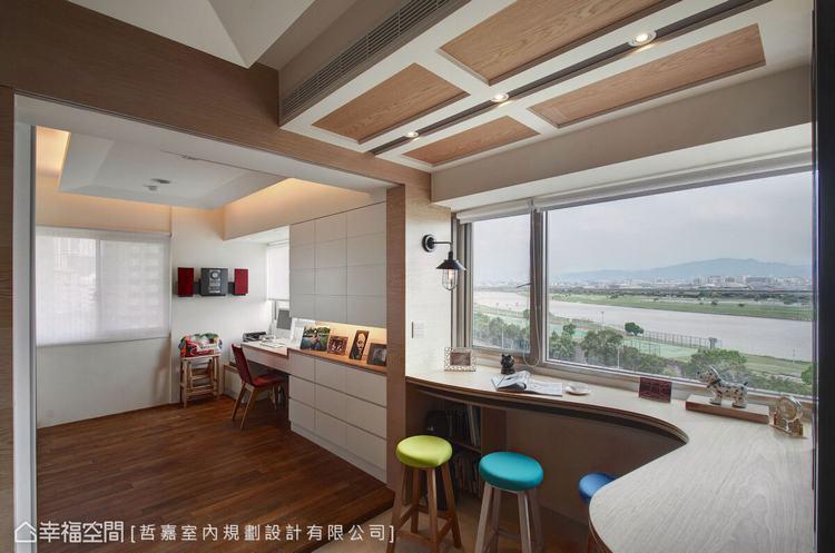 ▲串聯一線: 哲嘉室內規劃設計將觀景吧檯和書房串聯,形成流暢綿延的動線,帶來舒適...