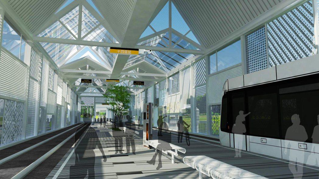 新北捷運「三環三線」之一的安坑輕軌,土建主體工程今天上午簽約,各站設計上融入當地...