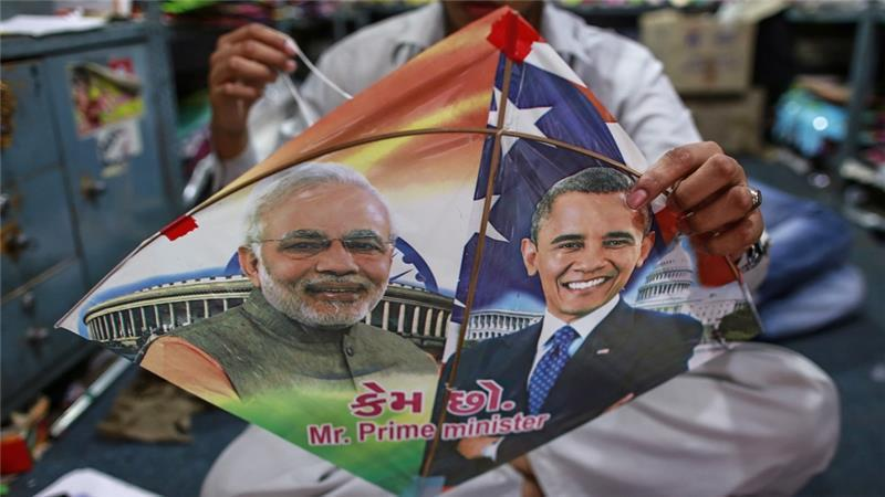 美國最近一直在說,即將與印度共同巡弋南海;左為印度總理莫迪圖,右為美國總統歐巴馬。 圖/路透社