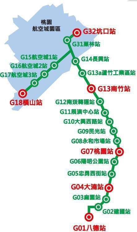 桃捷綠線站名圖