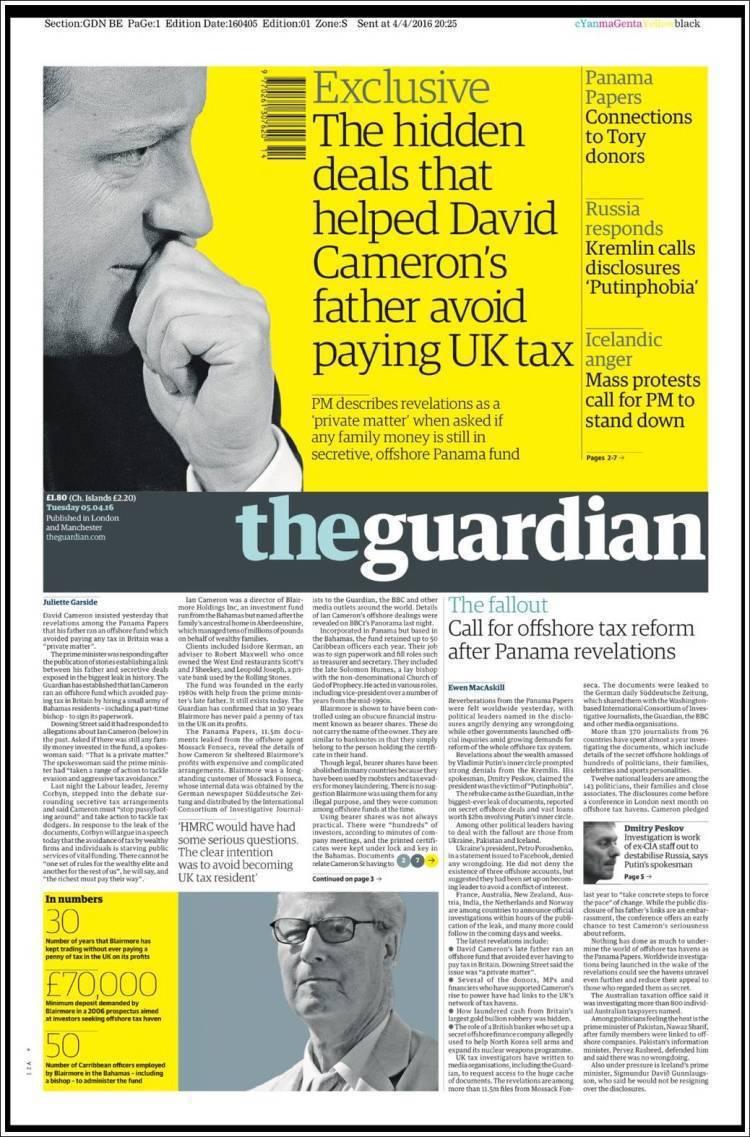 英國《衛報》4月5日頭版全版挑戰卡麥隆。 圖/衛報頭版