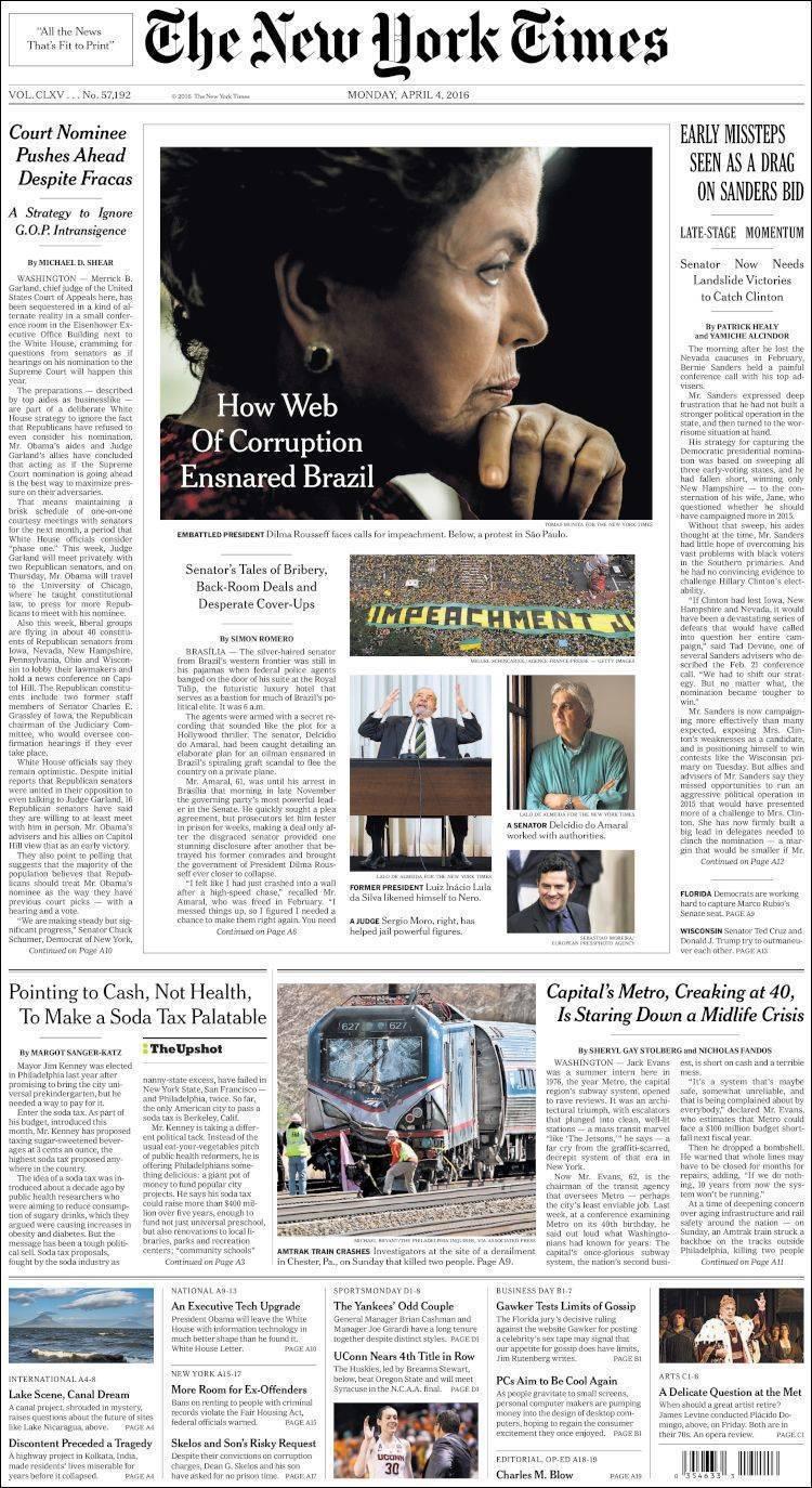 不為巴拿馬風暴所動,《紐約時報》4月4日頭版。 圖/紐約時報