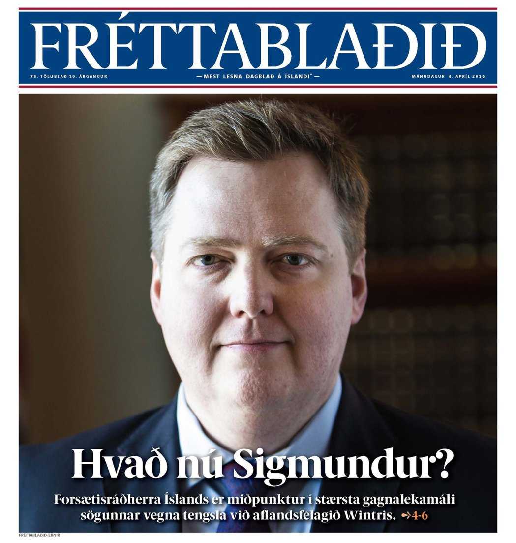 4月4日的頭版:「現在是怎樣,西格蒙杜爾(冰島總理的名字)?」 圖/冰島最大報《...