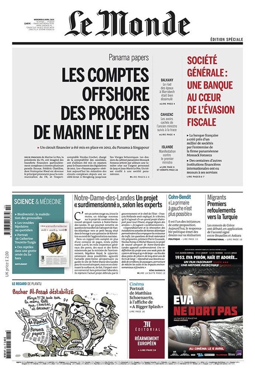 4月6日頭版頭條,「勒龐身邊的盟友與境外密帳」 圖/《世界報》