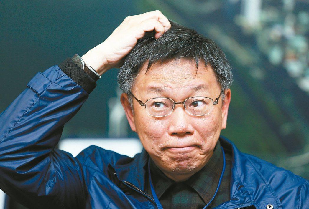台北市長柯文哲接受聯合報系專訪,暢談施政理念。柯文哲展現過人的自信,抓頭是他的招...